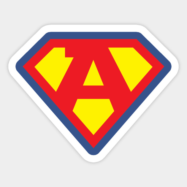 Letter A Superhero Symbol Superhero Sticker Teepublic