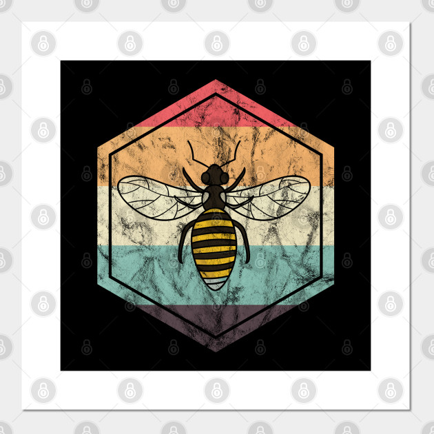 Art print POSTER CANVAS Bees Working on a Manmade Honeycomb
