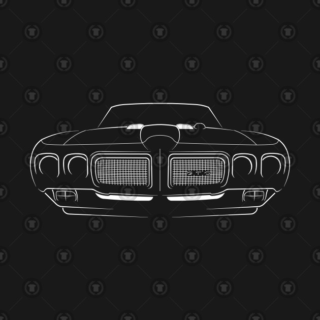 1970 Pontiac GTO The Judge - front Stencil, white