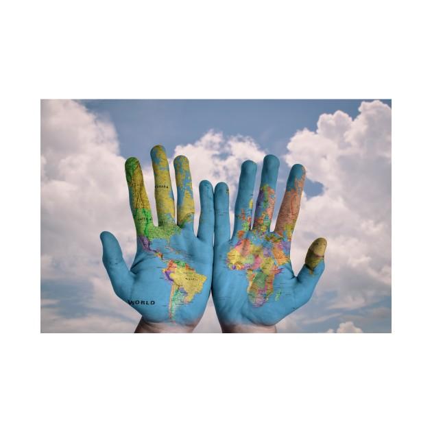 World Map On Hands.World Map Hands World Map Pillow Teepublic