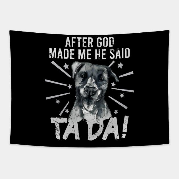 TaDa Vintage funny Pit bull dog with Distressed TaDa retro pit bull