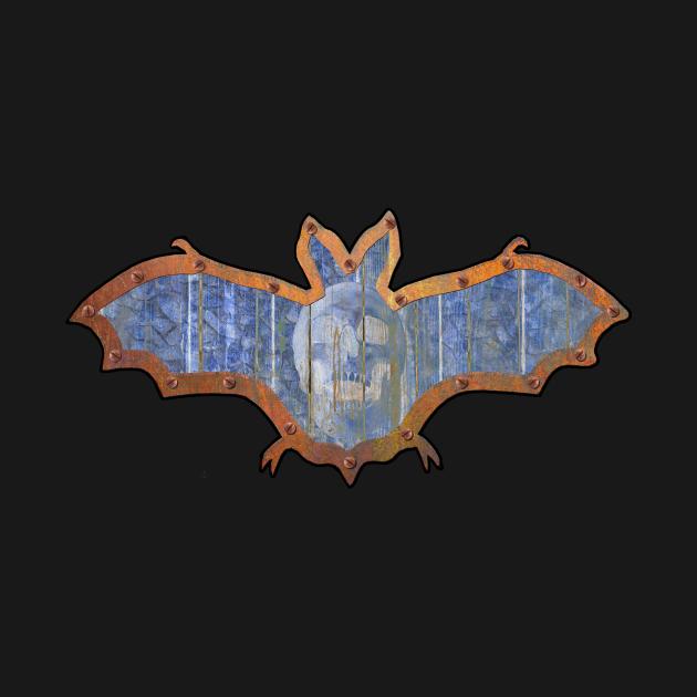 Pale Blue Skull Halloween Bat Decoration In A Retro Style