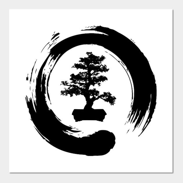 e7dfb2d7aa1f4 Bonsai Tree Enso Circle - Buddhist Zen Calligraphy Posters and Art Prints