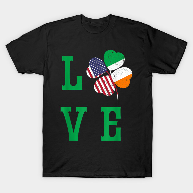 American Irish Flag St. Patrick s Day Shirt Shamrock Tee T-Shirt