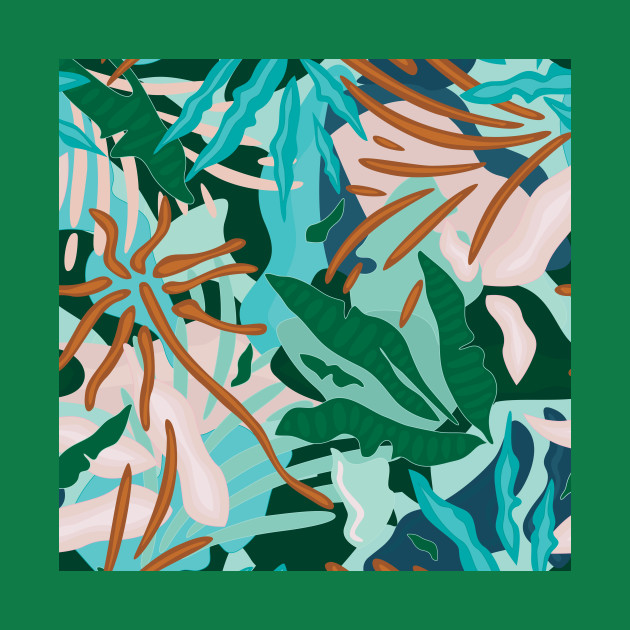 Abstract Tropical Jungle / Turquoise, Green, Sand and Light pink