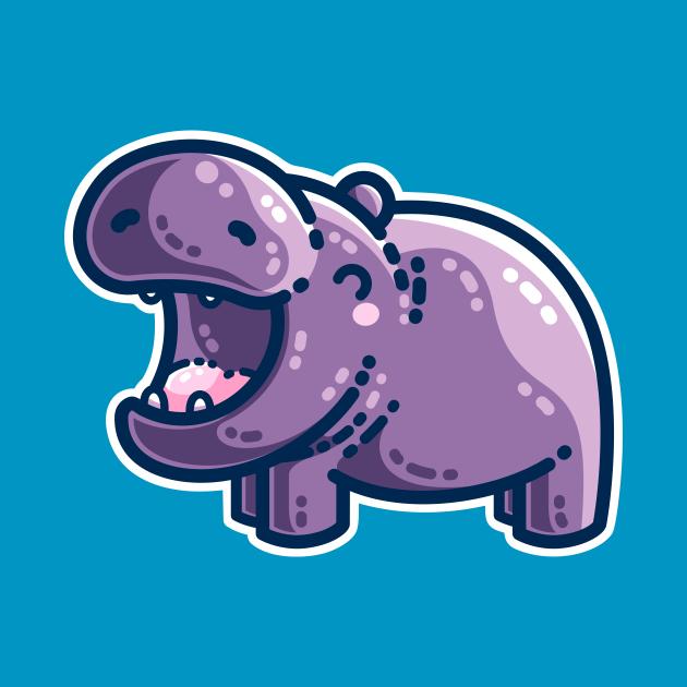 Purple Hippo Kawaii Cute
