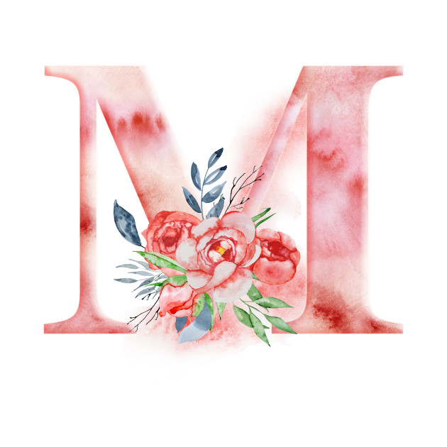 Floral Watercolor Monogram - M
