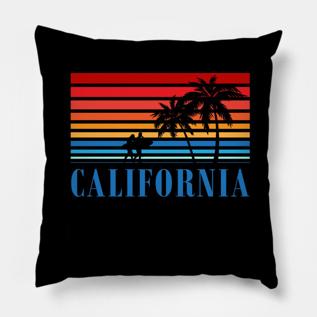 California Blue Surfers Sunset Stripes California Pillow Teepublic