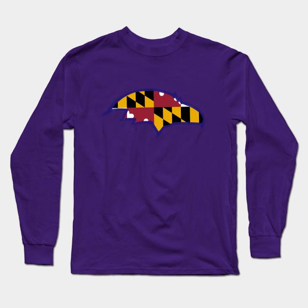 209782aea Ravens MD Flag - Baltimore Ravens - Long Sleeve T-Shirt