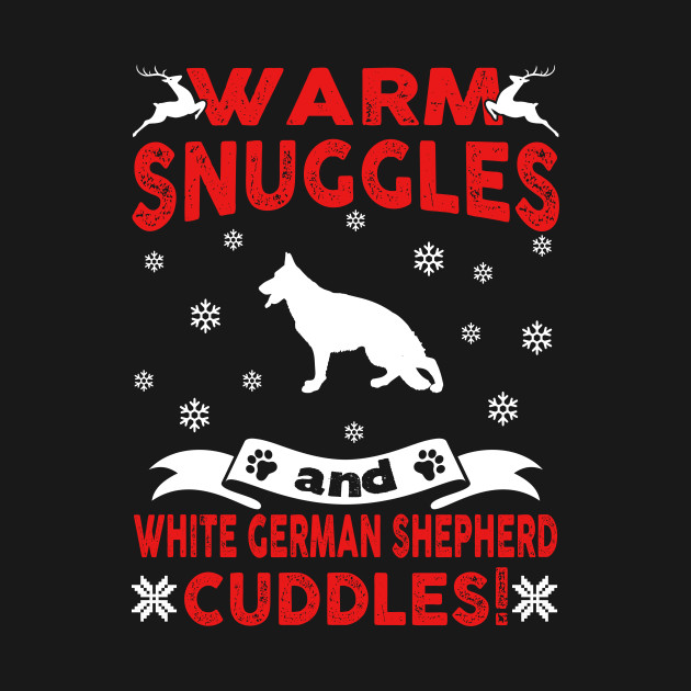 German Shepherd Christmas Sweater.White German Shepherd Ugly Christmas Sweater