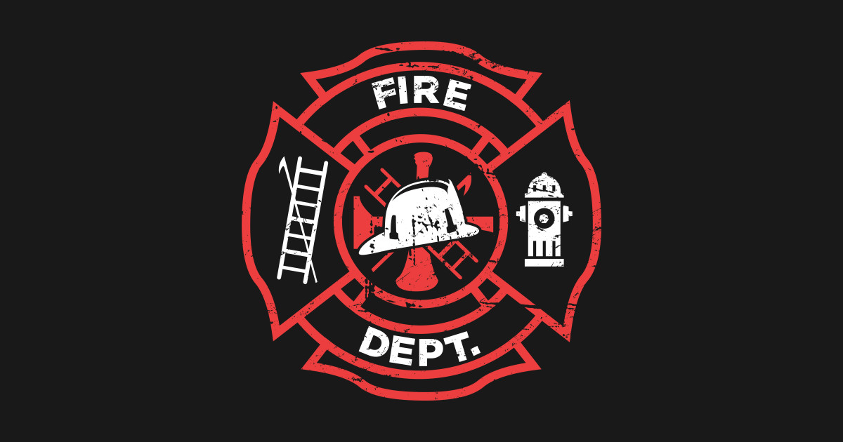 Distressed firefighter logo fire department t shirt for Fire department tee shirt designs