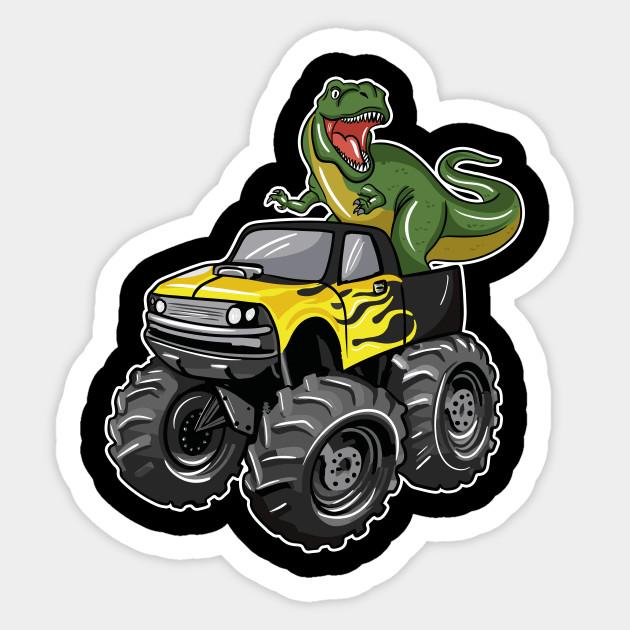 Monster Truck Dinosaur Monster Truck Dinosaur Sticker Teepublic