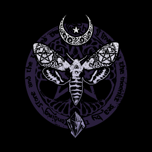 Wiccan Pagan Witch T-Shirt Crystal Moon Death Moth Tee