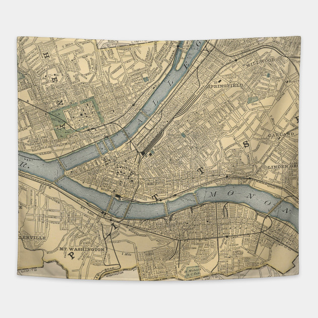 Vintage Map of Pittsburgh PA (1891) - Pittsburgh Map - Tapestry ...