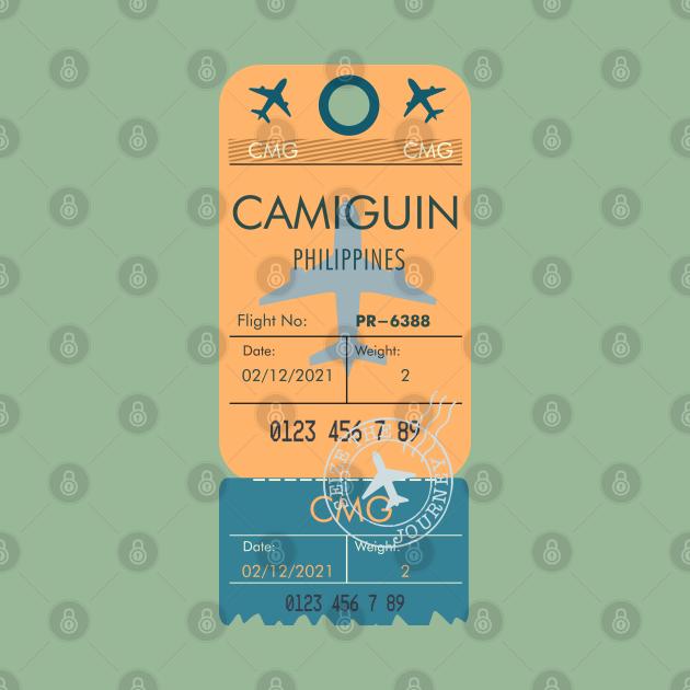 CAMIGUIN PHILIPPINES RETRO PLANE TICKET BAG TAG FILIPINO