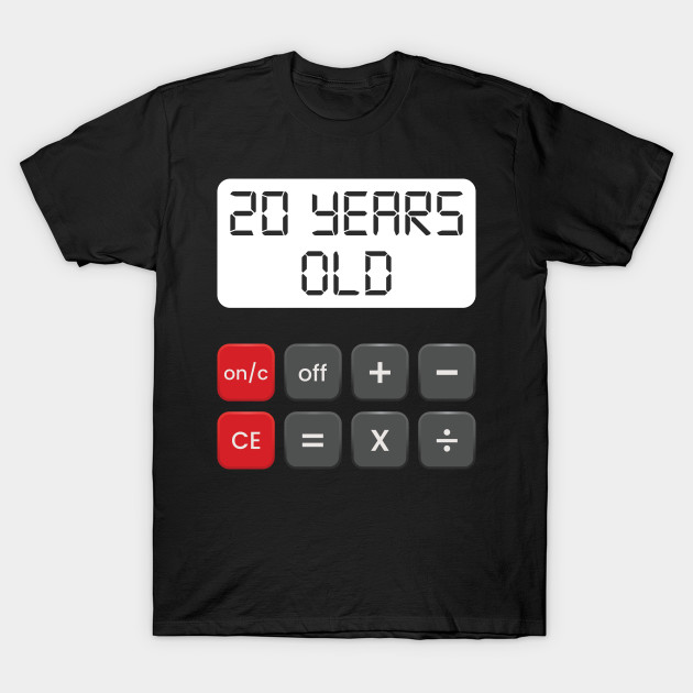 Funny Math Geek 20th Birthday Gift 20 Years Old T Shirt