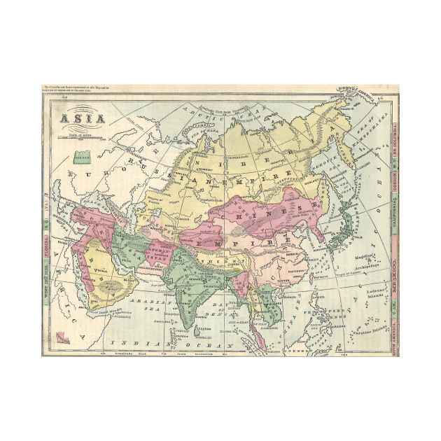 Vintage Map of Asia (1872)