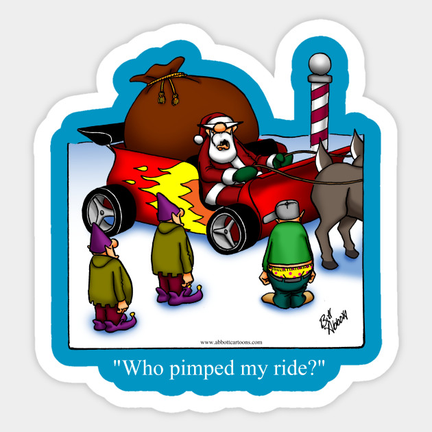 Funny Christmas Pimped Ride Santas Sleigh Cartoon Funny Christmas