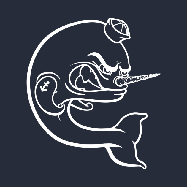 Angry Narwhal - White Outline