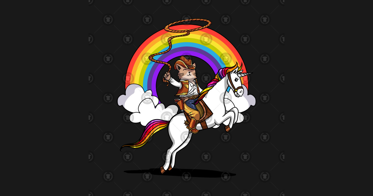 3f2e1def6 Cat Cowboy Riding Unicorn Funny Kitten Rainbow - Cat Riding Unicorn ...