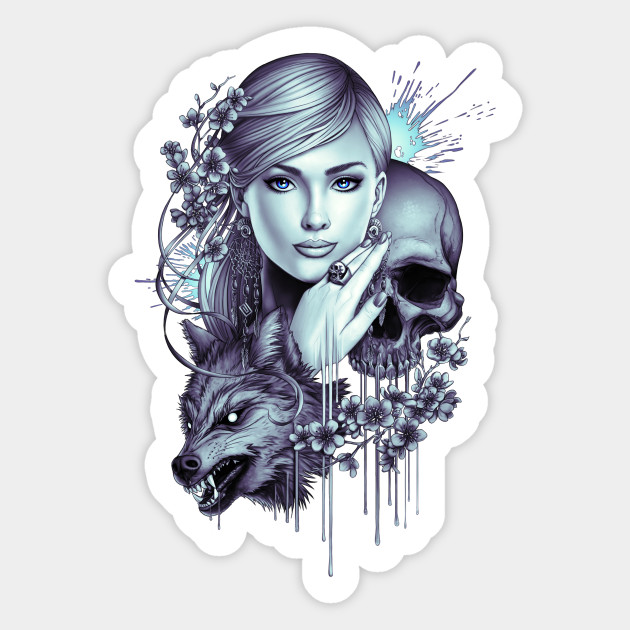 69a09f77d Wolf Skull Girl Tattoo - Tattoo - Sticker | TeePublic