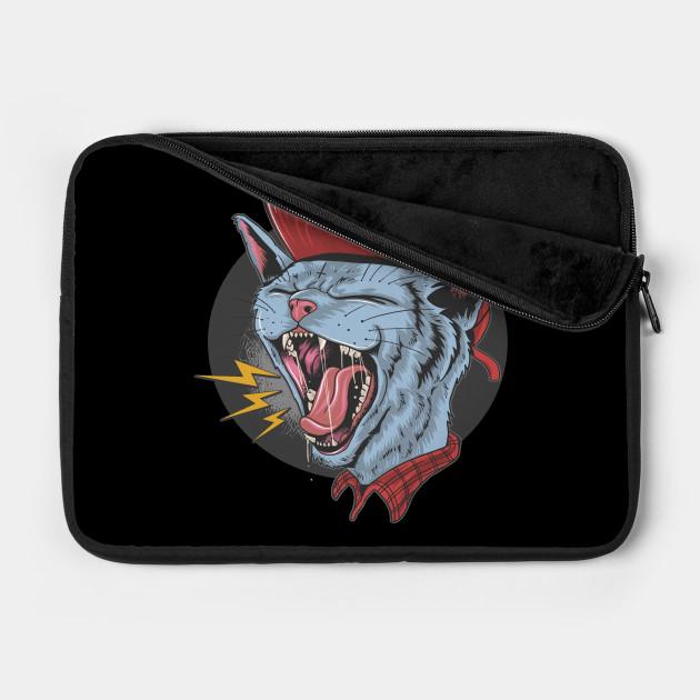Cat kitty scream over rock n roll punker