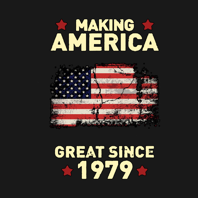 605f0c3dfbf VINTAGE USA FLAG 1979 SHIRT OLD RETRO 40TH BIRTHDAY - BLACK T-SHIRT ...
