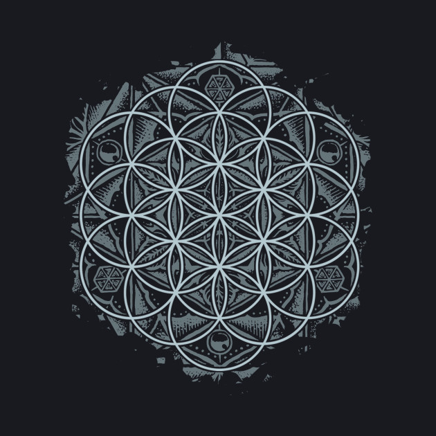 Sacred Geometry Flower of Life Mandala Monochrome