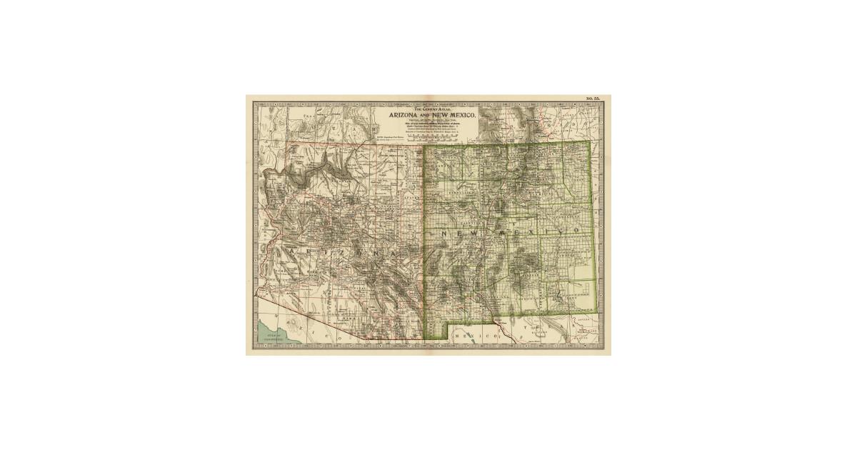 Vintage Map of Arizona and New Mexico (1899) by bravuramedia