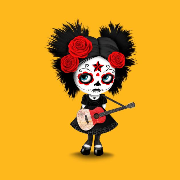 Sugar Skull Girl Playing Maltese Flag Guitar