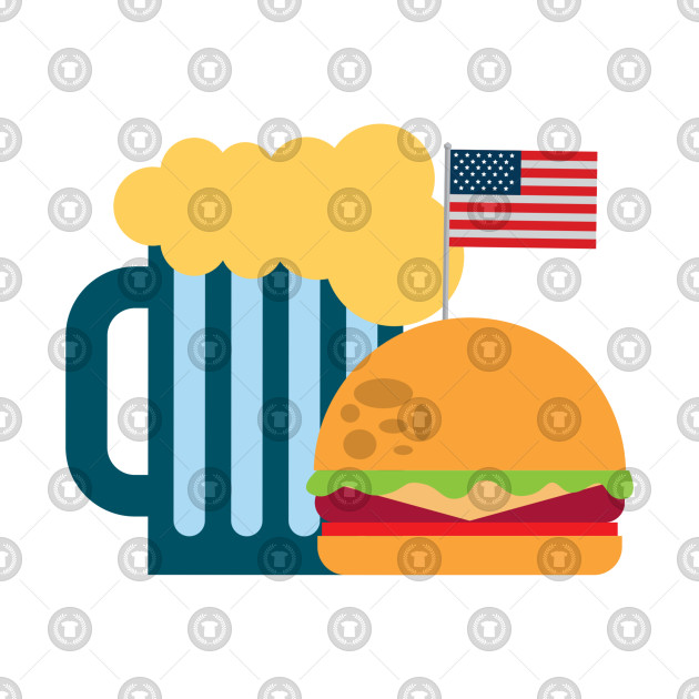 Burger And Beer American Flag