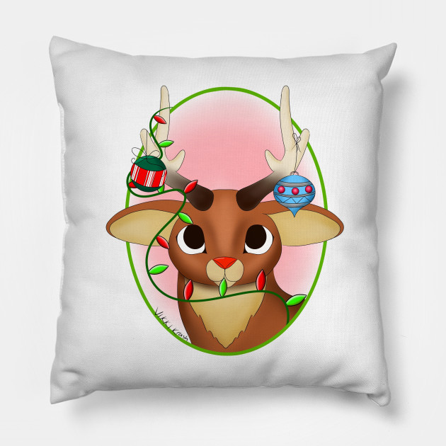 Rudolph with Christmas decorations Pillow
