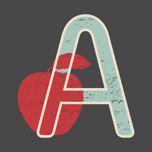 Vintage Retro Letter A Initial Apple Monogram