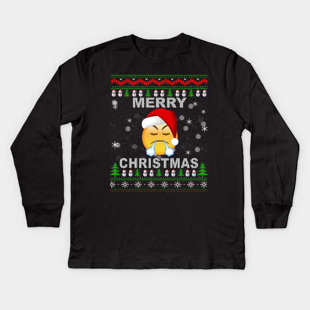 afcb84cf3 Face With Look Of Triumph Emojis Christmas Ugly Sweater Tee Kids Long  Sleeve T-Shirt