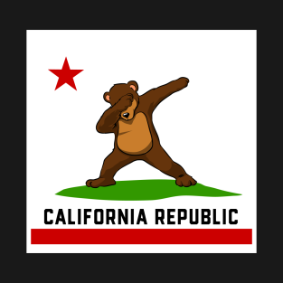 California Republic Flag Dabbing Bear T Shirt