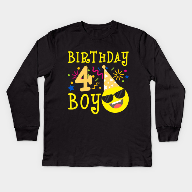 Kids Emoji 4th Birthday Boy T Shirt Fun 4 Years Old Gift Long Sleeve