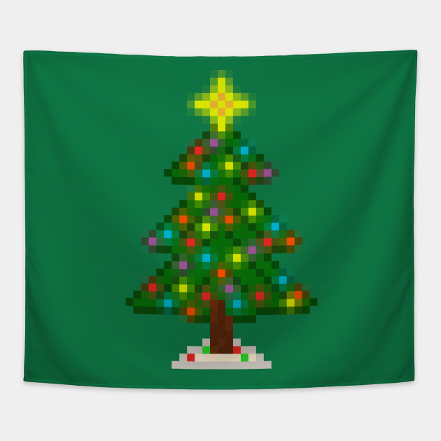 Pixel Christmas Tree with Glowing Lights (Green) Tapestry