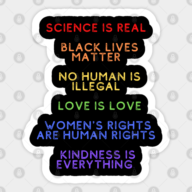 No Human Is Illegal Science Is Real Women/'s Rights LGBT Pride Stickers Vinyl Decals Black Lives Matter