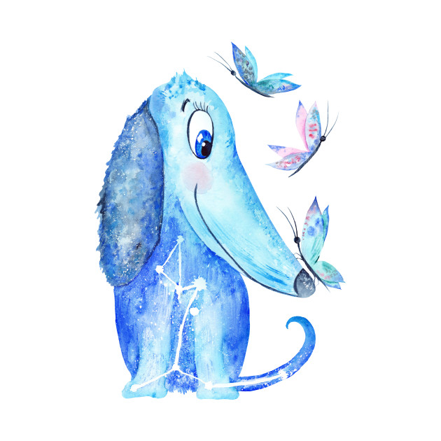 Watercolor Blue Dog Illustration