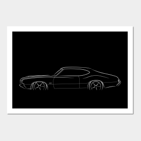 864a8a3c 1970 Oldsmobile 442 - profile stencil, white Posters and Art