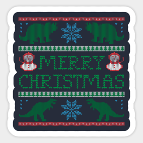 ugly christmas sweater dinosaur stickers teepublic - Ugly Christmas Sweater Dinosaur