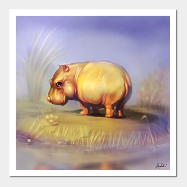 Happy hippo - Hippos - Wall Art   TeePublic