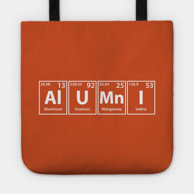 Alumni (Al-U-Mn-I) Periodic Elements Spelling - Alumni - Tote ... ab84fba6c