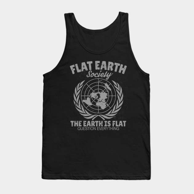 Flat Earth Society Retro Vintage Distressed Design Tank Top