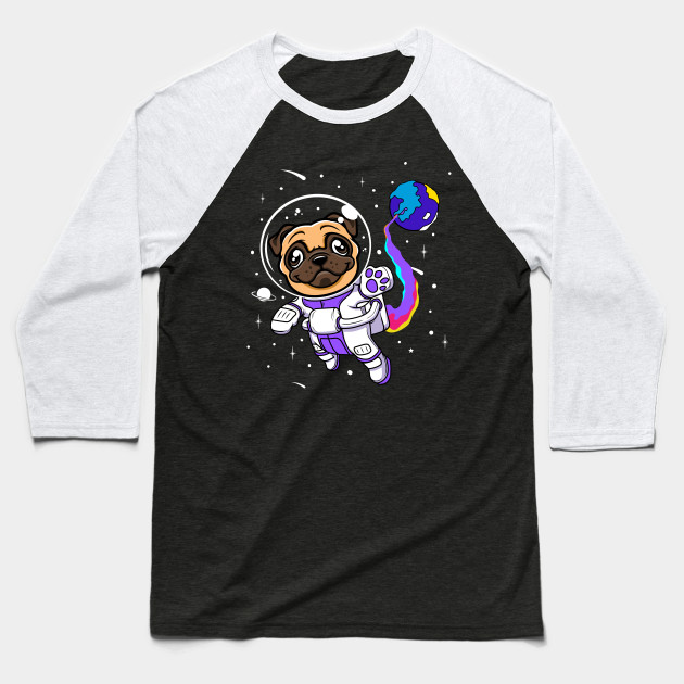 Pug Astronaut In A Space Suit Cute Dog Humor Baseball T-Shirt