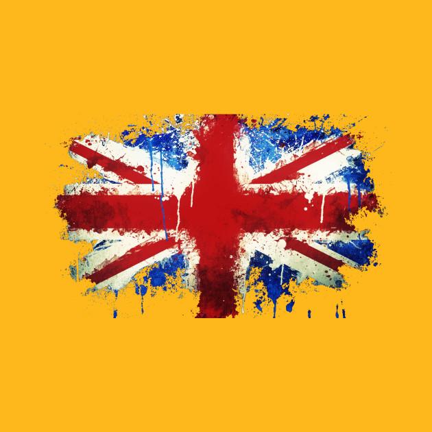 Splattered Union Jack - Uk - T-Shirt | TeePublic