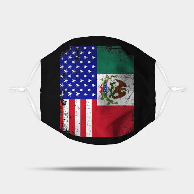 Mexican American Flag Half Mexico Half USA