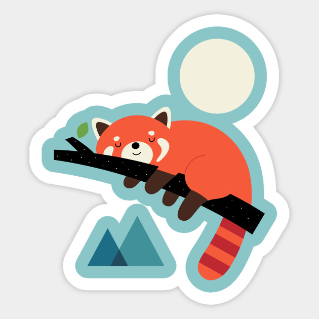 Red panda sticker design by andywestface nap time
