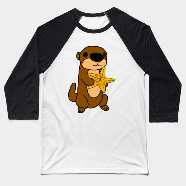 b26608ab3 Cute Baby Sea Otter with Starfish Cartoon - Sea Otter - Baseball T ...