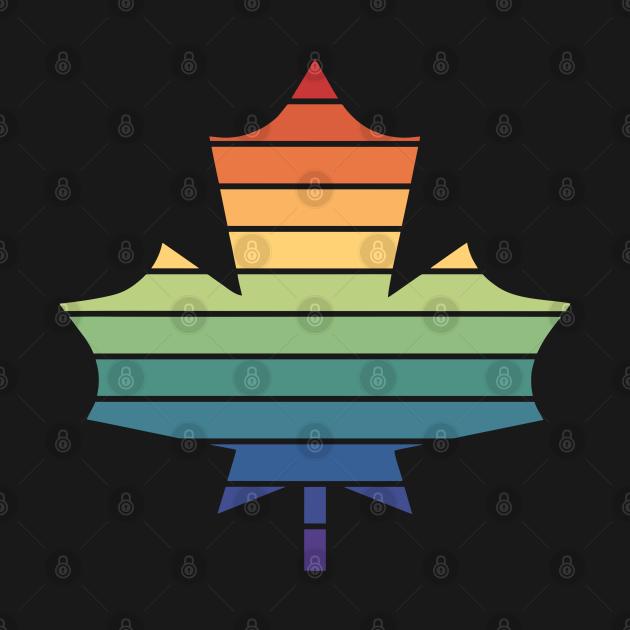 Muted Rainbow Gay Pride Horizon Maple Leaf